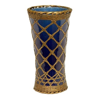 Antique Awaji Pottery Vase With Brass Weaving For Sale