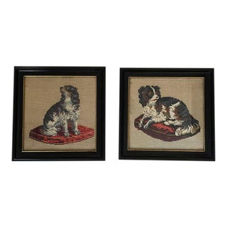 Framed Antique Staffordshire Dogs Needlepoint - a Pair