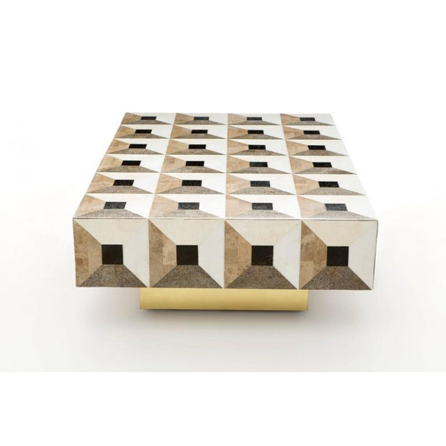 Not Yet Made - Made To Order Custom Geometric Design Marble and Brass Coffee Table For Sale - Image 5 of 5