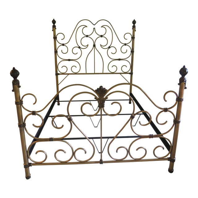 Vintage Victorian Style Metal High Back Queen Size Bed Frame For Sale