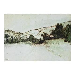 "1950s Jean-François Millet ""Hill Landscape"", First Edition Vintage Cottage Lithograph For Sale"