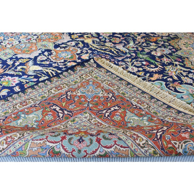 Vintage Signed Persian Tabriz Wool & Silk Rug - 6′5″ × 9′7″ For Sale - Image 9 of 11