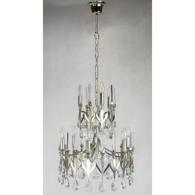 Rare Italian Import Gaetano Sciolari Silver and Crystal Nine-Light Chandelier - Image 6 of 7