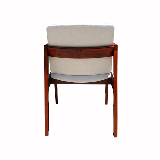Mid-Century White & Red Wood Office Armchair - Image 6 of 6