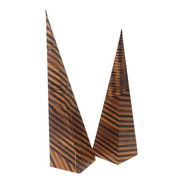 Vintage Parquetry Wood Obelisks - Set of 2 For Sale