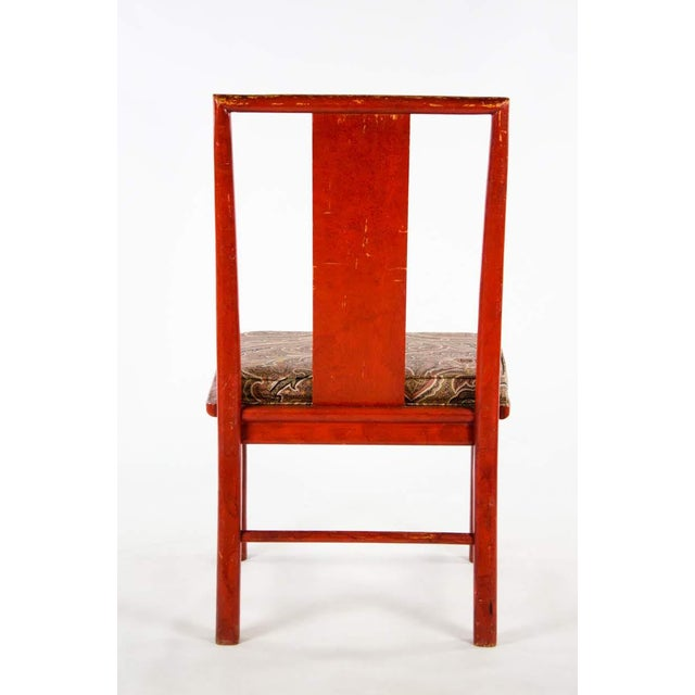 Early 20th Century Vintage Thomasville Chinese Style Red Lacquer and Upholstered Dining Chairs - Set of 6 For Sale - Image 12 of 13