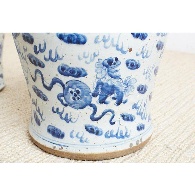 Pair of Chinese Blue and White Ginger Jars and Foo Dogs For Sale - Image 10 of 13