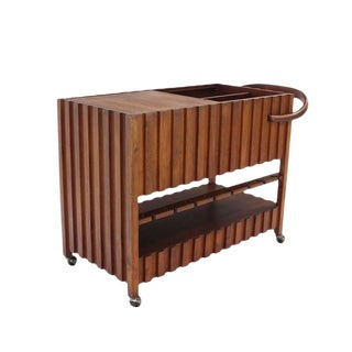 Mid-Century Modern Solid Oiled Walnut Bar Serving Cart For Sale