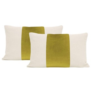 "12""x 18"" Chartreuse Velvet Panel & Linen Lumbar Pillows - a Pair For Sale"