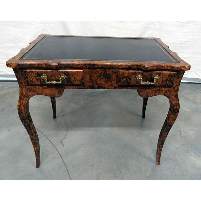 Directoire style leather top 2 drawer leather top writing desk.