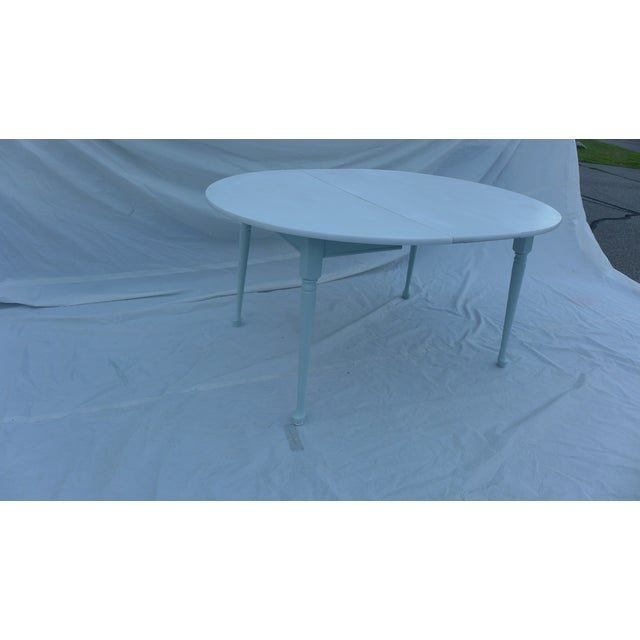 Paint Heywood-Wakefield Two-Tone Blue & White Table For Sale - Image 7 of 7