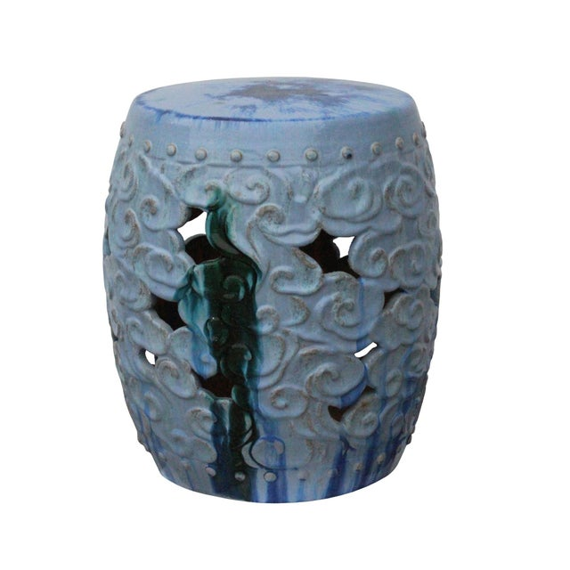 2010s Ceramic Clay Light Blue Glaze Round Scroll Pattern Garden Stool For Sale - Image 5 of 8