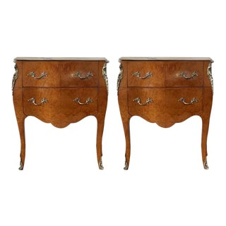 Italian Fruitwood Two Drawers Nightstands or Bedside Commodes - a Pair For Sale