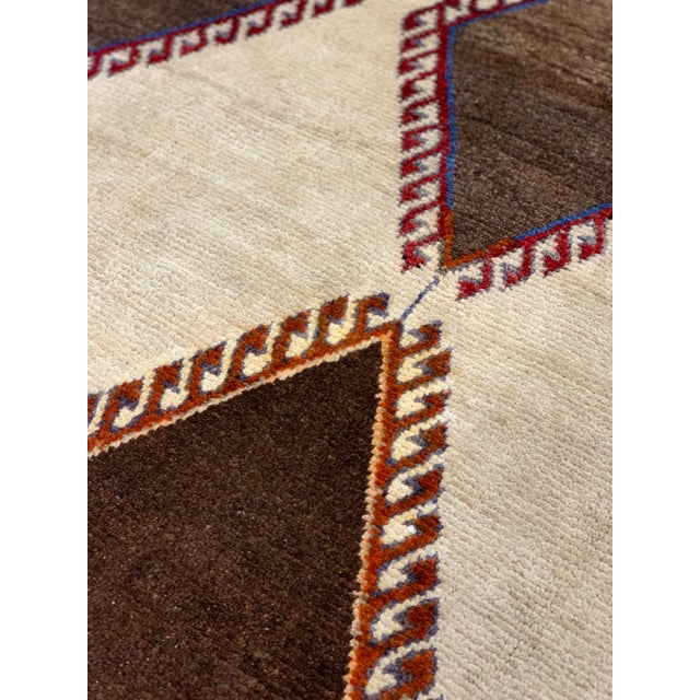 Brown 1960s Vintage Persian Gabbeh Rug - 4′2″ × 6′4″ For Sale - Image 8 of 13