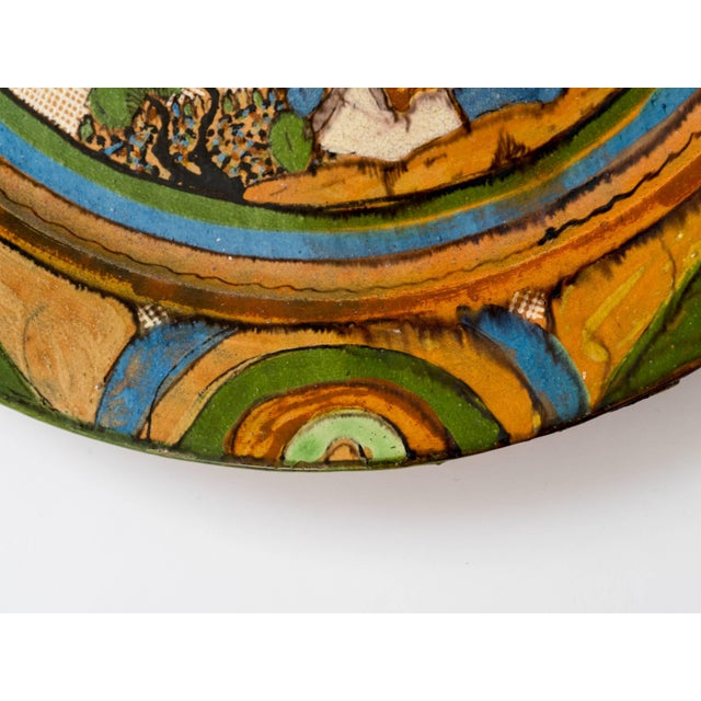 Canary Yellow Tlaquepaque 1930s Mexican Hand-Painted Ceramic Charger Tray For Sale - Image 8 of 11