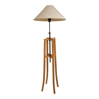 Maple Wood and Lacquered Copper Colored Metal Architectural Floor Lamp. C. 1980s For Sale