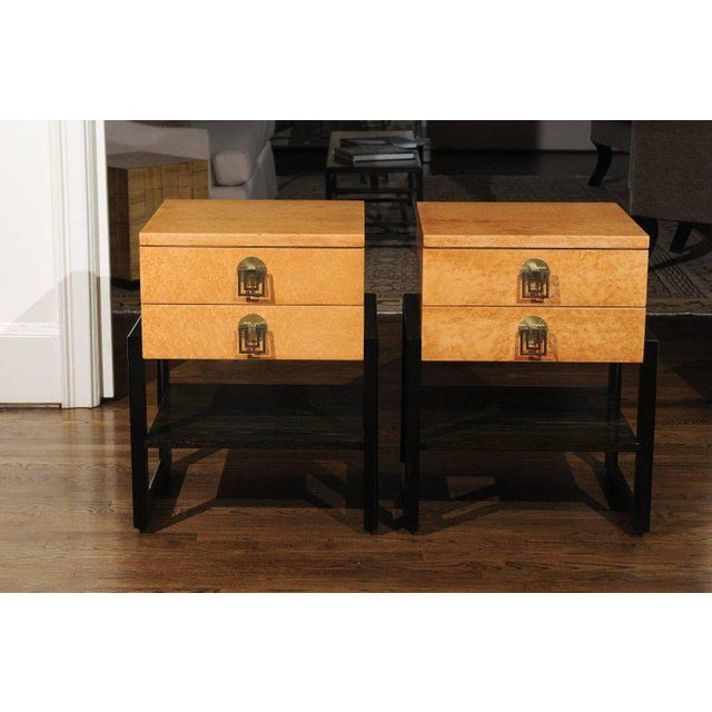 Brass Magnificent Pair of End Tables by Renzo Rutili in Birdseye Maple, Circa 1955 For Sale - Image 7 of 13