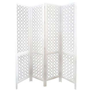 Carved Wood Work White Screen/Room Divider For Sale