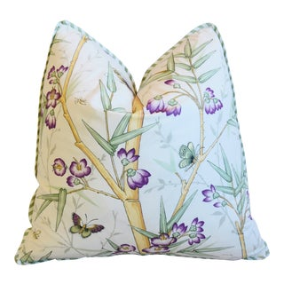 "Clarence House Chinoiserie Bamboo & Butterflies Fabric Feather/Down Pillow 21"" Square For Sale"