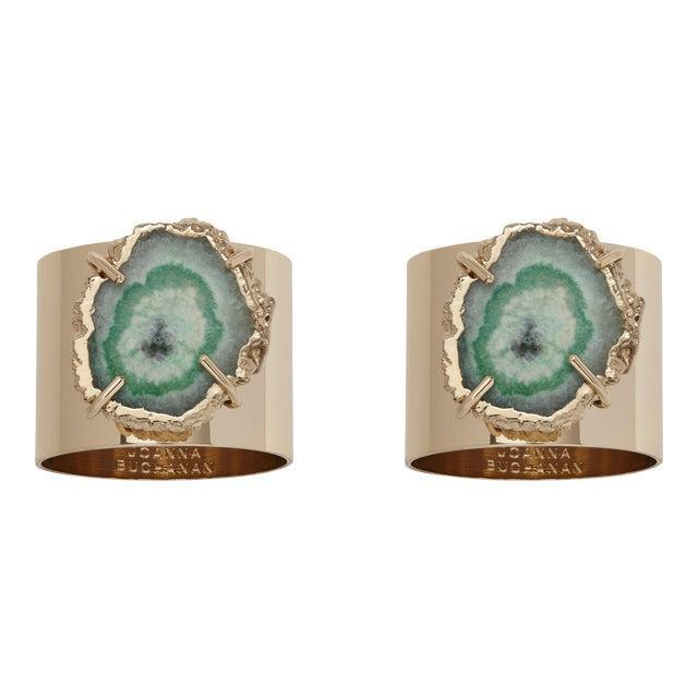 Crystal Quartz Napkin Rings, Seafoam, Set of Two For Sale
