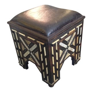 Bone Inlaid Moroccan Bench