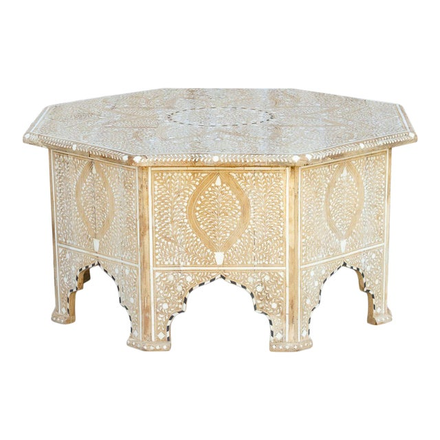 Charming Anglo Indian Farmhouse Lotus Inlaid Coffee Table For Sale