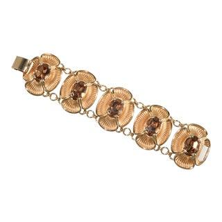 Napier Bracelet Light Brown Rhinestones Golden Flowers For Sale