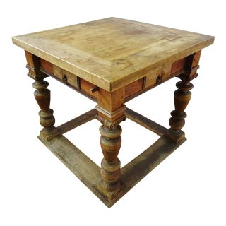 Antique French Card Games Square Table