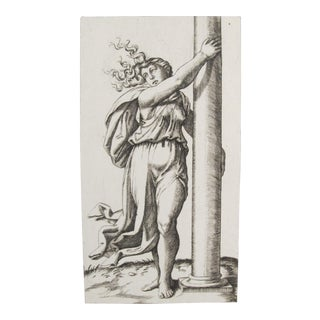 1781 Italian Engraving, Divine Comedy (Dante Alighieri) Woman With Column For Sale