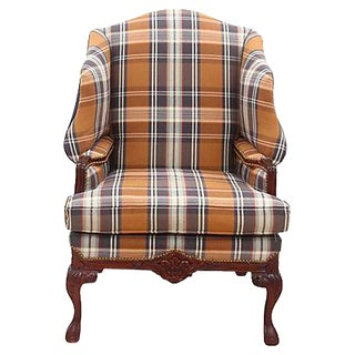 English Plaid Wingback Chair For Sale