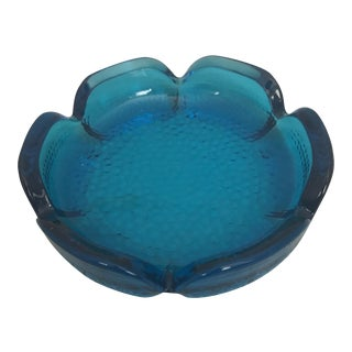 1960's Round Aquamarine Glass Ashtray For Sale
