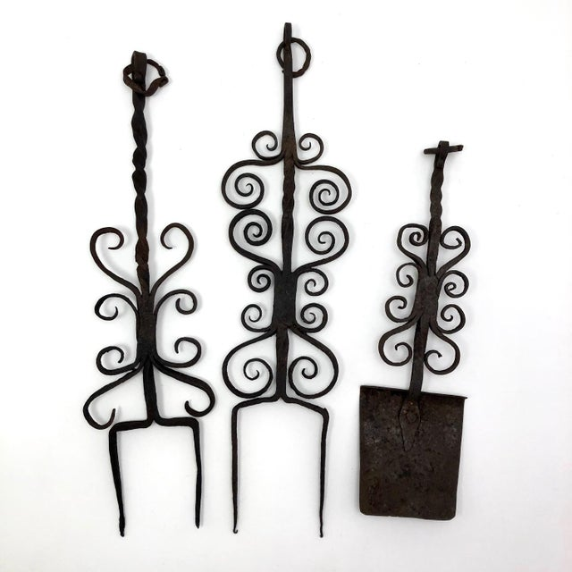 Rustic Antique Hand Forged Wrought Iron Utensils Rack, Forks and Spatula For Sale - Image 3 of 13