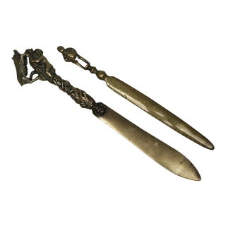 19th Century Bronze Letter Openers - A Pair