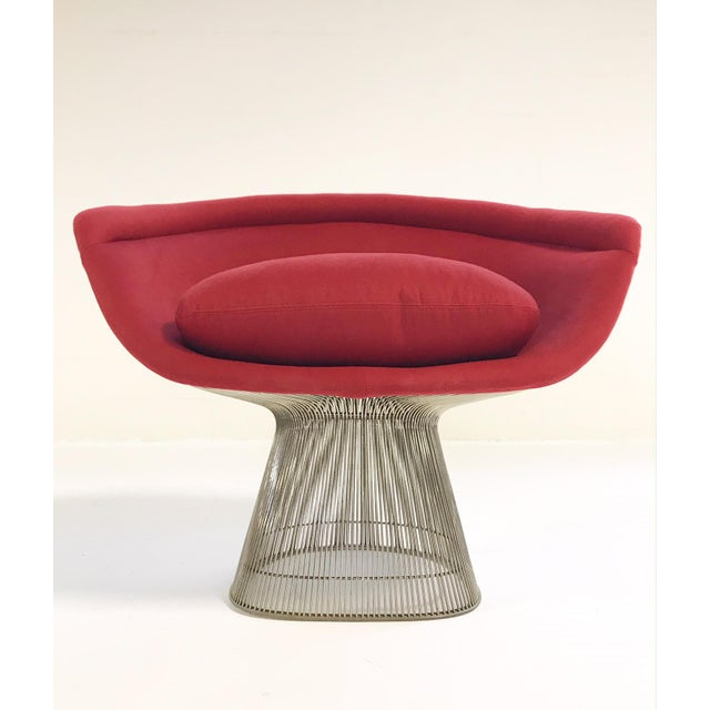 Metal Warren Platner for Knoll Lounge Chairs Restored in Loro Piana Red Cashmere - Pair For Sale - Image 7 of 13