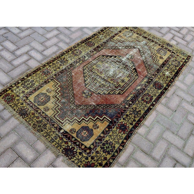Antique Turkish Handmade Oushak Pile Rug 3′8″ × 5′11″ - Image 3 of 7