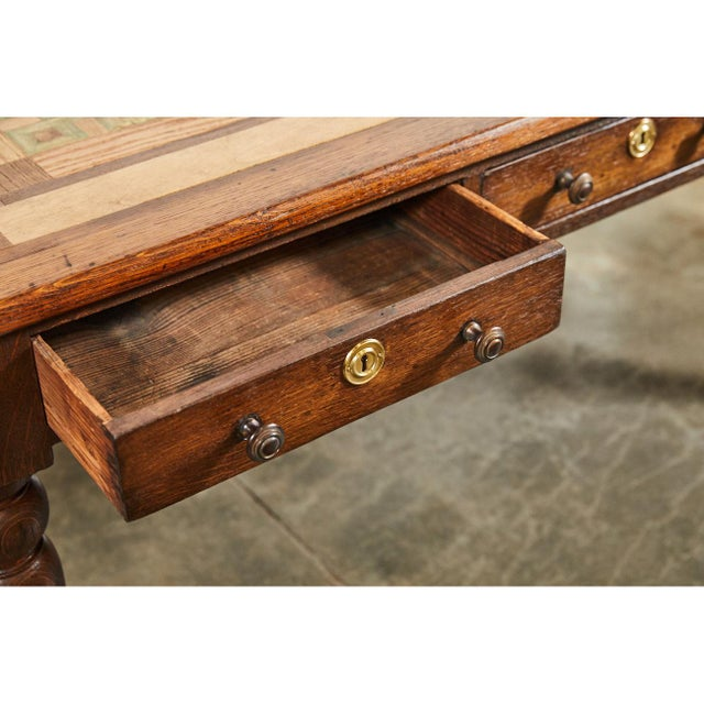 Gold English Oak Writing Table With Inlaid Top For Sale - Image 8 of 9
