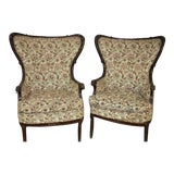Image of Victorian Upholstered Fireside Wingback Chairs - a Pair For Sale