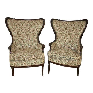 Victorian Upholstered Fireside Wingback Chairs - a Pair For Sale