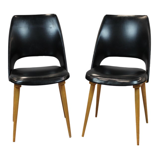 Mid-Century Vinyl Noir Side Chairs - a Pair - Image 1 of 6