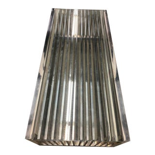 Authentic Mid-Century Modern Milo Baughman Style Slat Chrome Coffee Table For Sale