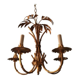 1960s Faux Bamboo Pagoda Gold Gilded Chandelier For Sale