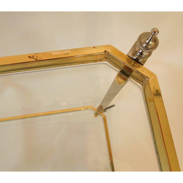 1960s 1960s Vintage Italian Brass Nickel & Glass Bar Cart For Sale - Image 5 of 8