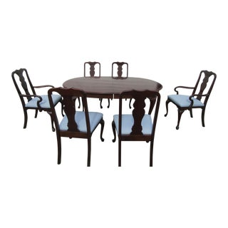 1980s Queen Anne Solid Mahogany Dining Set - 7 Pieces For Sale