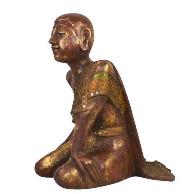 Asian Antique Vintage Thai Wooden Buddha In Wood For Sale - Image 3 of 6