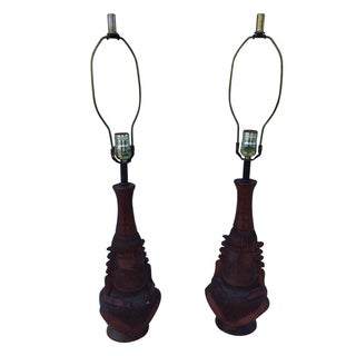 1950's Decorative Wooden Lamps - Pair For Sale