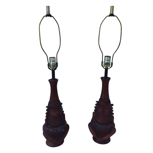 1950's Decorative Wooden Lamps - Pair - Image 1 of 10