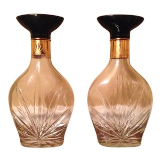 Vintage Cannabis Glass Liquor Bottles - A Pair