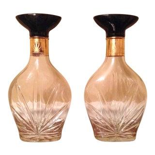 Vintage Cannabis Glass Liquor Bottles - A Pair