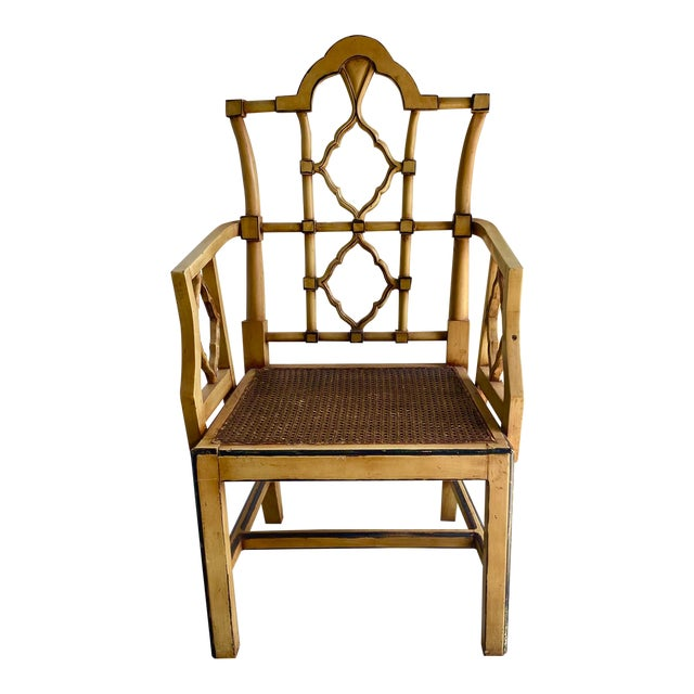 Vintage Bamboo Fretwork Armchair For Sale