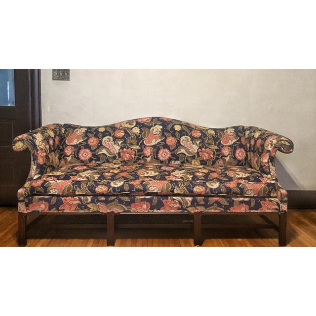Mid 20th Century Hickory Chair Co Chippendale Style Floral Upholstered Camel Back Sofa For Sale - Image 5 of 5
